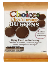 Choices Choc 'N' Orange Dairy Free Chocolate Buttons 25g